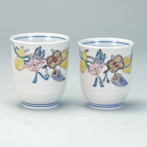 組湯呑 宝尽くし |米寿 プレゼント 金婚式 陶器 還暦祝い 退職祝 結婚祝い 贈り物 ペア 夫婦 誕生日 プレゼント 古希 喜寿 祝い||rachael