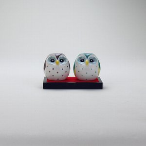 2号丸ペア梟 青九谷 |米寿 プレゼント 金婚式 陶器 還暦祝い 退職祝 結婚祝い 贈り物 ペア 夫婦 誕生日 プレゼント 古希 喜寿 祝い||rachael