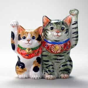 5.5号仲良し招猫 よもぎ三毛 |米寿 プレゼント 金婚式 陶器 還暦祝い 退職祝 結婚祝い 贈り物 ペア 夫婦 誕生日 プレゼント 古希 喜寿 祝い||rachael