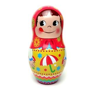 ペコちゃん パラソル柄のマトリョーシカ人形缶|racimall