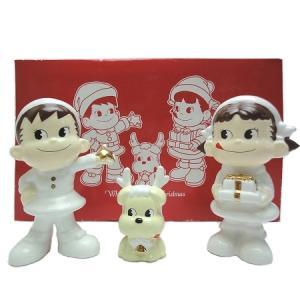 ホワイト ペコちゃん&ポコちゃんクリスマス 陶器製フィギュア|racimall