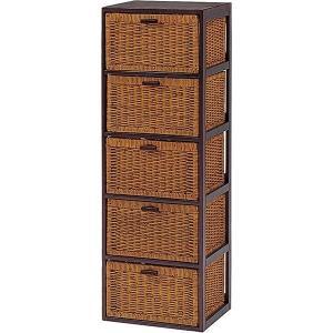ランドリーチェスト(洗面所収納/ランドリー収納) 5段 幅40cm スリム 木製(籐・天然木) 枯淡シリーズ 〔完成品〕|rack-lukit
