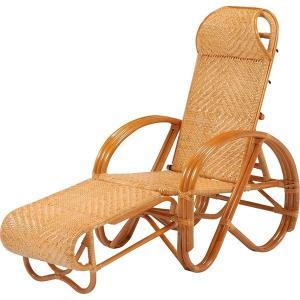 リクライニング三ツ折椅子 木製(籐) 肘掛け 折りたたみ式|rack-lukit