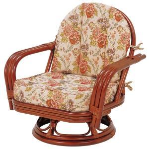 回転座椅子/パーソナルチェア 〔ゆったりサイズ〕 座面高26cm 木製(ラタン製) 肘付き|rack-lukit