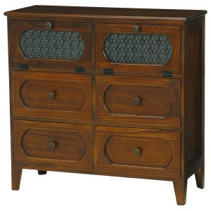 ローチェスト(和箪笥/リビング収納) 木製(桐材) 幅80cm アンティーク調 ブラウン 〔完成品〕|rack-lukit