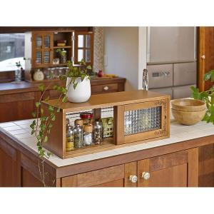 カウンター上収納ラック(キッチン収納/スパイスラック) 幅90cm 木製 ガラス引き戸付き カントリー調 ライトブラウン|rack-lukit