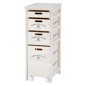 キッチンストッカー(キッチン収納/キッチンワゴン) 木製 4段 幅30cm キャスター付き引き出し MUD-6906WS ウォッシュホワイト(白)|rack-lukit