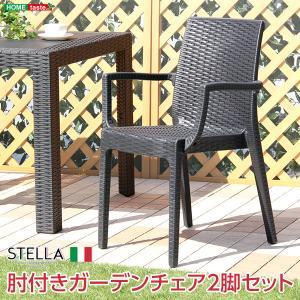 ガーデン肘付チェア 2脚セット 〔STELLA〕ガーデン カフェ|rack-lukit