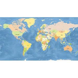 大型サイズ  オフィスや会議室、書斎にふさわし世界地図のポスター  英語表記  大西洋中心(日本は東...