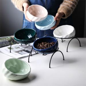 猫 フードボウル 食器 スタンド 陶器 犬 えさ皿 食台つき 猫用フード 水 ボウル