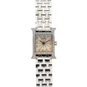 【HERMES】 エルメス Hウォッチ HH1.130 ホワイトシェル文字盤 ベゼルダイヤ  美品 レディース腕時計 raftelshop