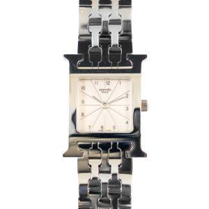 【HERMES】 エルメス Hウォッチ HH1.210 シルバー/アイボリー ステンレス  美品 レディース腕時計 raftelshop