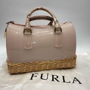 【FURLA】フルラ キャンディバッグ ミニボストン ピンク パイソン かご raftelshop