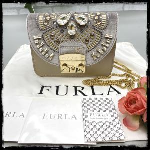 【FURLA】フルラ メトロポリス ビジュー ショルダーバッグ チェーン ゴールド×シルバー raftelshop