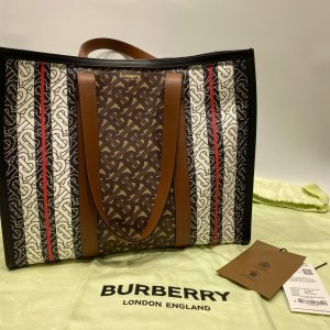 【BURBERRY】バーバリー PVC×レザー トートバッグ ブラウン|raftelshop