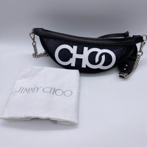 【Jimmy Choo】ジミーチュウ レザー メッシュ クロスボディ ボディバッグ ショルダーバッグ ロゴ ブラック raftelshop