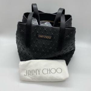 【Jimmy Choo】ジミーチュウ レザー スタースタッズ ブラック トートバッグ ハンドバッグ (小) raftelshop