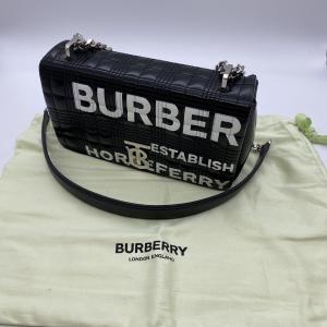【BURBERRY】バーバリー スモールホース フェリープリント キルティング ローラー チェーン ショルダーバッグ ブラック|raftelshop
