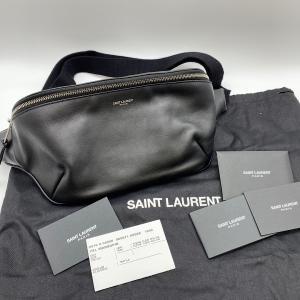 【SAINT LAURENT】サンローランパリ レザー ボディバッグ ロゴウエストバッグ ブラック FLY505671|raftelshop
