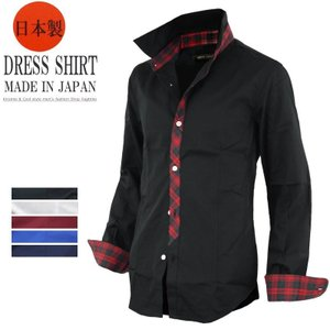 シャツ メンズ ドレスシャツ ゴシック 日本製 キレイめシャツ 7分袖シャツ 長袖 七分袖 124016|rag001