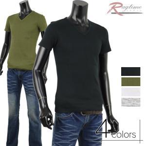 カットソー 半袖 メンズ ワッフル生地 Vネック Tシャツ インナー トップス A280307-03 rag001