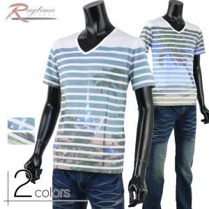 半袖 Tシャツ メンズ Vネック フォト ボーダーデザイン プリント A280520-01 rag001