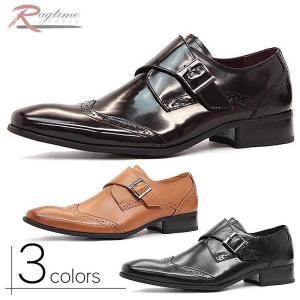 ビジネスシューズ メンズ 紳士靴 ロングノーズ モンクストラップ 本革 国産 ベルト M270514-11|rag001