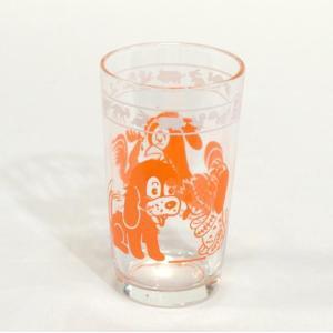 アンティーク スワンキーグラスアニマル(オレンジ)、子犬とニワトリのカワイイ絵柄です。創業903年、...