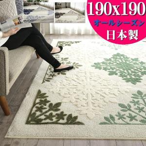 ラグ 洗える カーペット インテリア 柄 夏用 絨毯 2畳 用 190×190 じゅうたん ラグマット おしゃれ