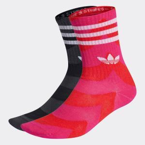 adidas originals アディダス オリジナルス × MARIMEKKO マリメッコ クルーソックス 2足組 2pc 赤 黒 H32405 【サステナブル素材】【リサイクル素材】|raiders
