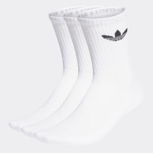 アディダス オリジナルス adidas originals 靴下 クッション トレフォイル ミッドカット クルーソックス 3足組 白  HB5881【サステナブル素材】|raiders
