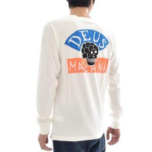 デウス エクス マキナ Deus ex Machina Tシャツ ハッピー スカル 長袖Tシャツ ロンT HAPPY SKULL LS TEE プリント ホワイト S M L DMP81106B メンズ|raiders