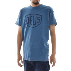 デウス エクス マキナ Deus ex Machina Tシャツ シールド インディゴ メンズ 半袖 デウスエクスマキナ ブランド ライトインディゴ M L SHIELD INDIGO DMS71892A|raiders