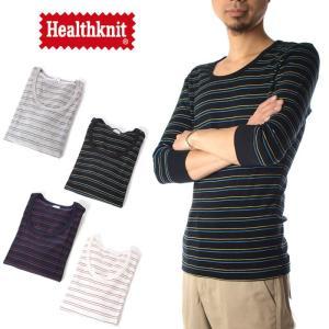 (ヘルスニット) Healthknit Tシャツ 7分袖 クルーネック ボーダー[M便 1/1] メンズ raiders
