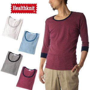 (ヘルスニット) Healthknit Tシャツ 7分袖 クルーネック ピンボーダー メンズ raiders