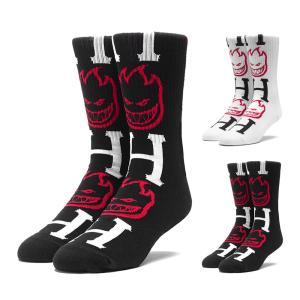 HUF ハフ ソックス メンズ ハフ×スピットファイア スピットファイヤ ビッグヘッド 靴下 コラボ ブランド 黒 白 SPITFIRE BIGHEAD H SOCKS SK00335FA18|raiders