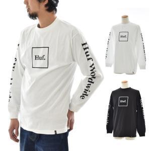 ハフ HUF Tシャツ ドメスティック ボックス ロングスリーブ Tシャツ メンズ レディース 長袖Tシャツ ロンT ブランド 黒 白  DOMESTIC BOX L/S TEE TS00146FA18|raiders