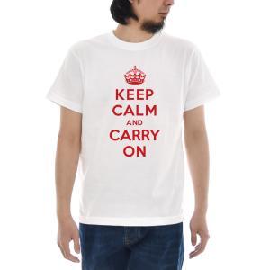 ジャスト Tシャツ Keep Calm and Carry On 半袖Tシャツ メンズ おしゃれ 大きいサイズ イギリス 英国 UK GB 宣伝ポスター 白 S M L XL XXL XXXL 3L 4L|raiders