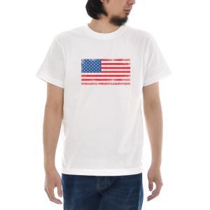 ジャスト Tシャツ アメリカン フラッグ 半袖Tシャツ メンズ レディース アメリカ USA 国旗 星条旗 合衆国旗 ティーシャツ 大きいサイズ 白 S M L XL XXL XXXL|raiders