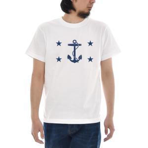 ジャスト Tシャツ アメリカ 海軍長官旗 半袖Tシャツ メンズ レディース USA 旗 FLAG NAVY 海軍 イカリ 錨 星 MARINE マリン 大きいサイズ 白 S M L XL 3L 4|raiders