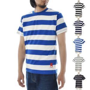 ジャスト Tシャツ エンブロイダリー ワイドボーダー 半袖Tシャツ メンズ レディース カットソー トップス 太ボーダー 刺繍 おしゃれ 白 青 黒 紺 S M L|raiders