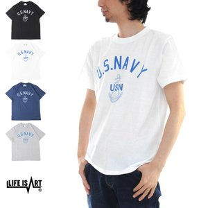 U.S NAVY USN Life is ART STANDARD PROJECT スタンダード プロジェクト Tシャツ ネイビー 海軍 基地 米軍 半袖 プリント ミリタリー アメカジ メンズ|raiders