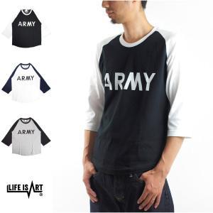 U.S ARMY RAGLAN 3/4 SLEEVE Life is ART スタンダード プロジェクト Tシャツ アーミー アメリカ陸軍 7分袖 ミリタリー アメカジ メンズ|raiders