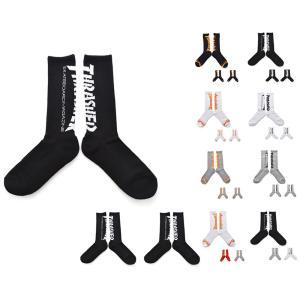 スラッシャー THRASHER 靴下 ソックス 3ペア メンズ レディース 3P 3枚組 ロング クルー マグロゴ ブランド ブラック 黒 ホワイト 白 TH-SX203 TH-SX206|raiders