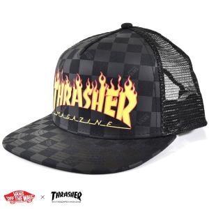 VANS ヴァンズ バンズ × スラシャー帽子 トラッカー メッシュキャップ ロゴ チェッカー コラボ コラボレーション VN0A360P09B VANSアパレル 黒 メンズ|raiders