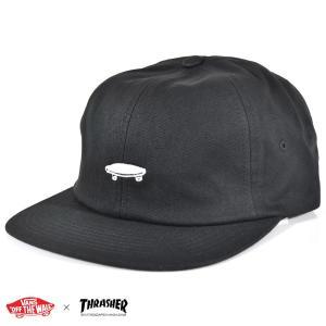 VANS ヴァンズ バンズ × スラシャー帽子 ジョーカー 6パネルキャップ ロゴ コラボ コラボレーション VN0A36V809B THRASHER CAP VANSアパレル 黒 メンズ|raiders