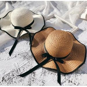 帽子 レディース ハット 春 夏 ざっくり 麦わら帽子 UVカット 帽子 大きいサイズ 日よけ 女優帽 つば広 ストローハット 海へ rainbow-beach88