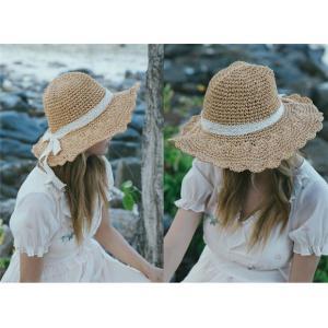 麦わら帽子 つば広帽子 ハット UVハット 帽子 紐付き レディース 小顔効果 折りたたみできる 大きいサイズ 風に飛ばない rainbow-beach88