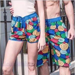 サーフパンツ ペアルック 海パン 短パン  レディース メンズ ビーチパンツ カップルお揃い 海の日 新婚旅行 ご夫婦 AlohaMahalo|rainbow-beach88