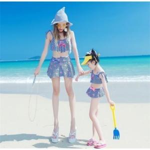 親子お揃い ワンピース 水着 2点セット ママ水着 マキシ シフォン 女の子 マキシ 子ども服 夏物 レディース キッズ 家族 旅行|rainbow-beach88